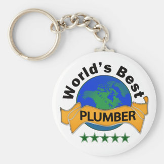 World's Best Plumber Basic Round Button Key Ring