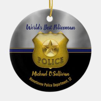 World's Best Policeman Photo Keepsake Ceramic Ornament