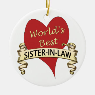 World's Best Sister-in-Law Round Ceramic Decoration