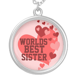 Worlds Best Sister (or any name) Round Pendant Necklace