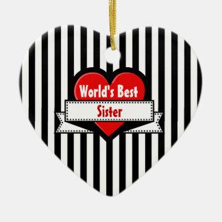 World's Best Sister Red Heart Ribbon V20K Ceramic Heart Decoration