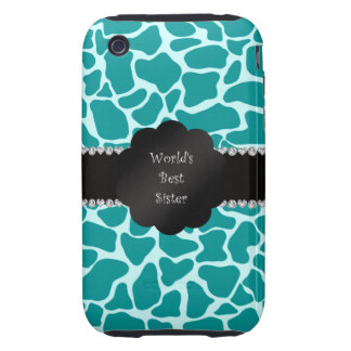 World's best sister turquoise giraffe iPhone 3 tough cases