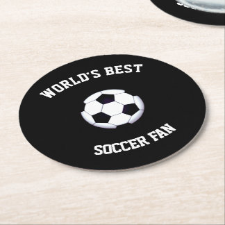 World's Best Soccer Fan Round Paper Coaster