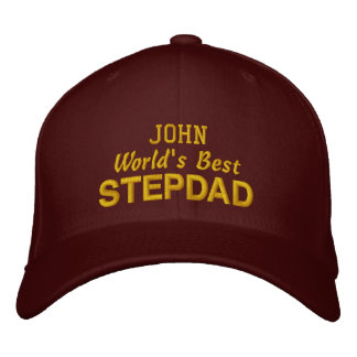 World's Best STEPDAD Custom Name MAROON 03 Embroidered Hat