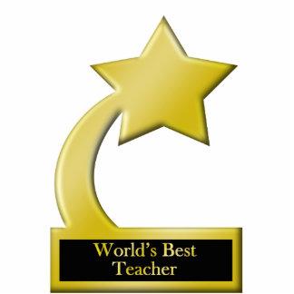 World's Best Teache, Gold Star Award Trophy Standing Photo Sculpture