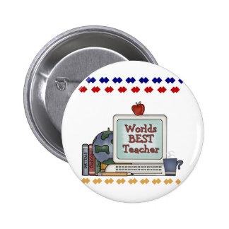 Worlds Best Teacher 6 Cm Round Badge