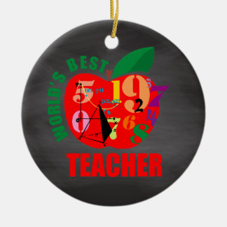 World's Best Teacher Apple | Chalkboard Math Ceramic Ornament