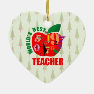World's Best Teacher Apple | Math Geometry Ceramic Heart Decoration