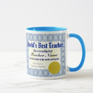 World's Best Teacher Certificate Mug