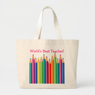 World's Best Teacher Colored Pencils 2 Large Tote Bag