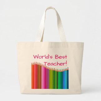 World's Best Teacher Colored Pencils 3 Large Tote Bag