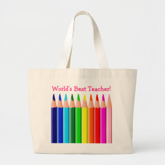 World's Best Teacher Colored Pencils Jumbo Tote Bag