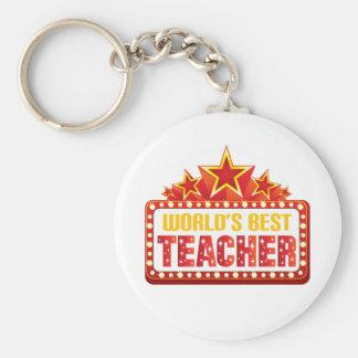 Worlds Best Teacher Gift Basic Round Button Key Ring