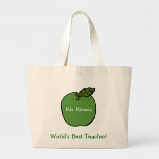 World's Best Teacher (green) Large Tote Bag