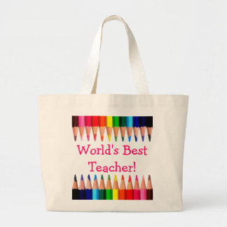 World's Best Teacher Pencil Tips Jumbo Tote Bag