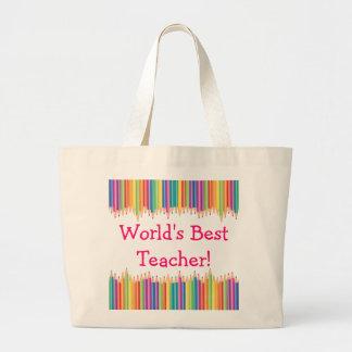 World's Best Teacher Pencil Tips Large Tote Bag