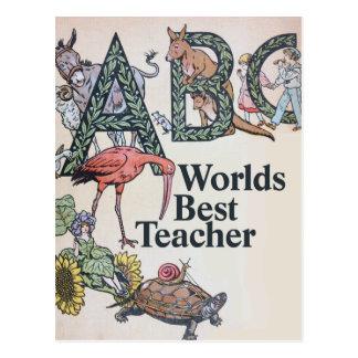 Worlds Best Teacher Postcard