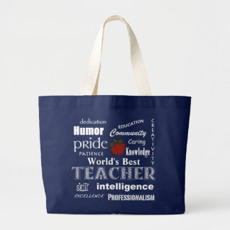 World's Best Teacher Pride-Red Apple+Customizable Large Tote Bag