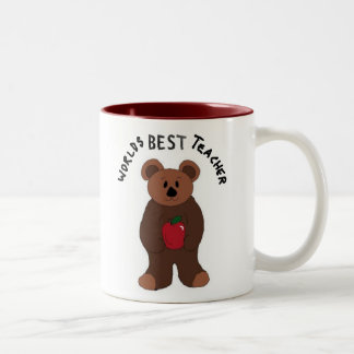 Worlds Best Teacher Teddy Bear Two-Tone Coffee Mug