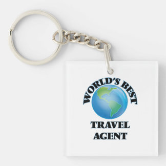 World's Best Travel Agent Square Acrylic Keychains