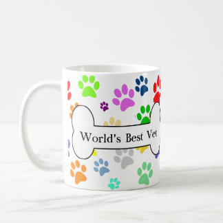 world's best vet Colorful Pet Paws Coffee Mug
