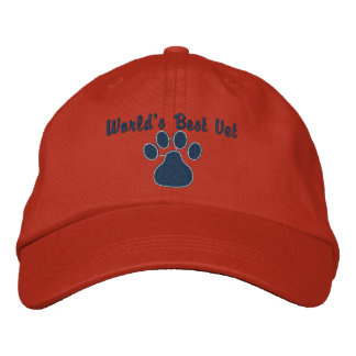 World's Best Vet with Paw Print Embroidered Hat