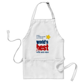 Worlds Best WIFE and MOM with RED BLUE Text 3E Standard Apron