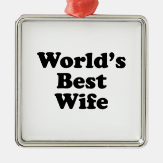 World's Best Wife Silver-Colored Square Decoration