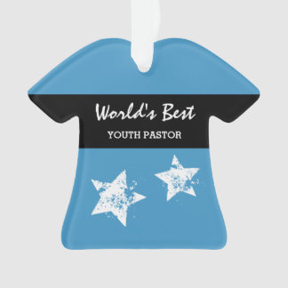 Worlds Best YOUTH PASTOR Blue with Star A01 Ornament