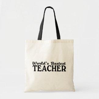 Worlds Bestest Teacher Budget Tote Bag