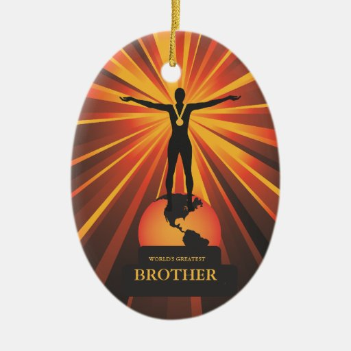 Worlds Brother Trophy Award Ornament