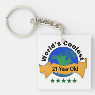 World's Coolest 21 Year Old Single-Sided Square Acrylic Keychain