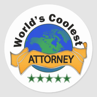 World's Coolest Attorney Round Sticker