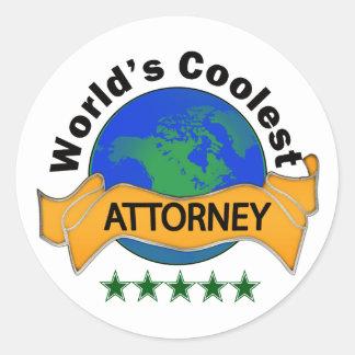 World's Coolest Attorney Round Sticker