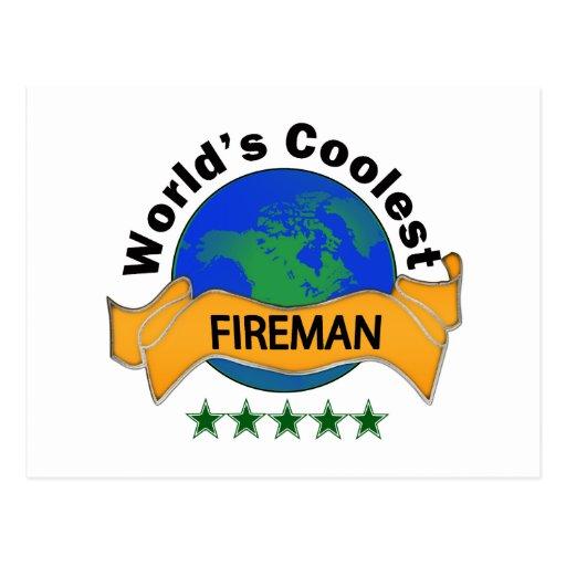 World's Coolest Fireman Post Card