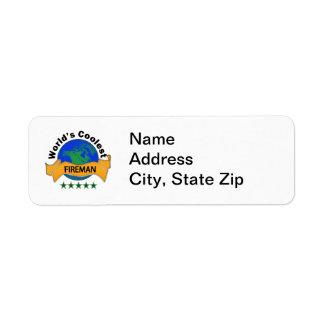 World's Coolest Fireman Return Address Label