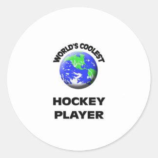 World's Coolest Hockey Player Round Stickers