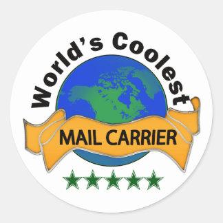 World's Coolest Mail Carrier Round Sticker