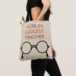 World's Coolest Teacher Tote Bag Red