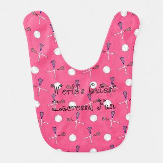 World's cutest lacrosse fan pink lacrosse pattern baby bibs