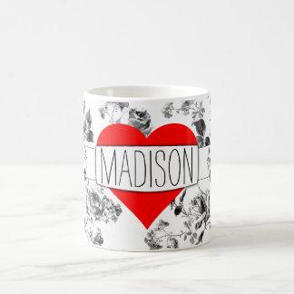 World's Cutest Mug: Black & White Floral and Heart Coffee Mug