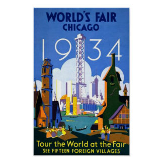 Worlds Fair Chicago 1934 WPA Vintage Poster
