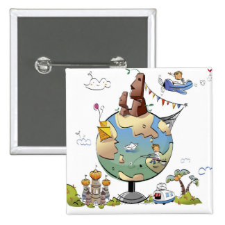 World's famous places around the globe 15 cm square badge