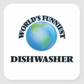 World's Funniest Dishwasher Square Sticker