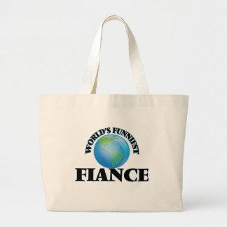World's Funniest Fiance Jumbo Tote Bag