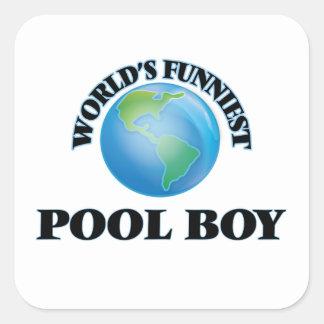 World's Funniest Pool Boy Square Sticker