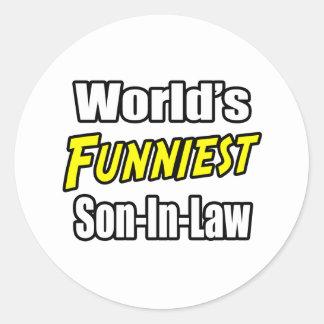 World's Funniest Son-In-Law Round Sticker