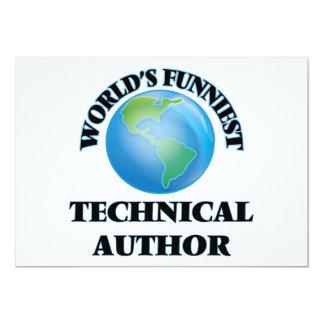 """World's Funniest Technical Author 5"""" X 7"""" Invitation Card"""