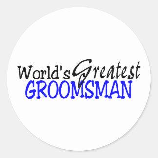 Worlds Greastest Groomsman Blue Black Classic Round Sticker