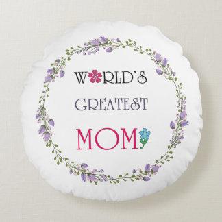 World's Great Mom Wreath Round Throw Pillow